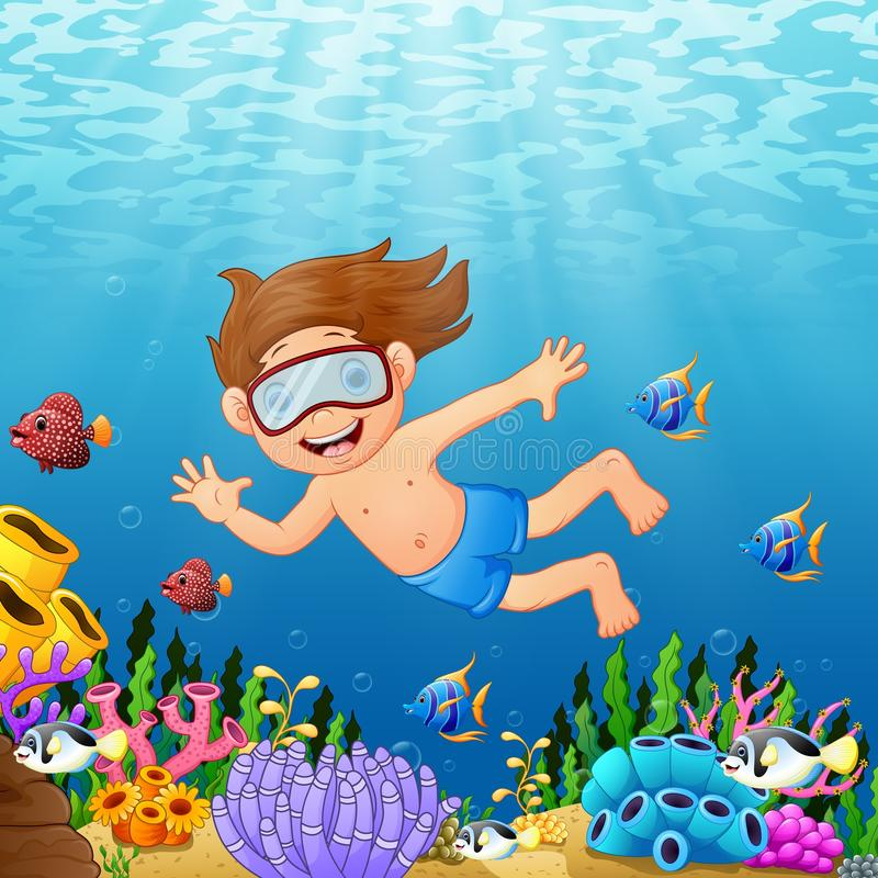 Cartoon boy swimming in the sea with fish. Illustration of Cartoon boy swimming in the sea with fish stock illustration