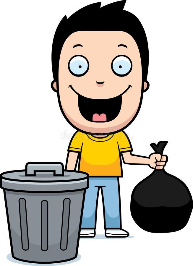 Cartoon Boy Trash stock illustration