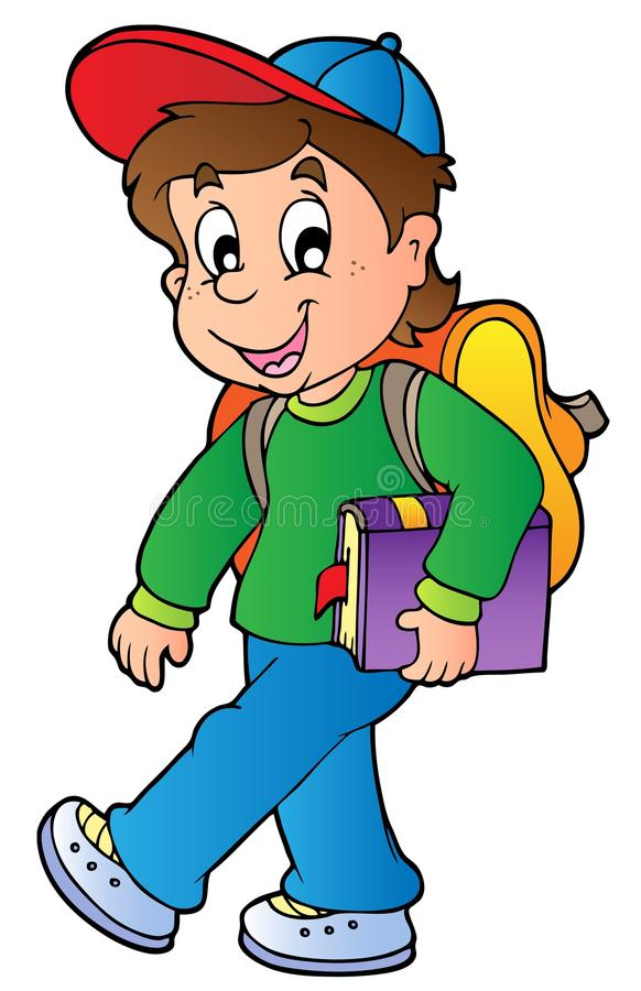 Cartoon boy walking to school stock illustration