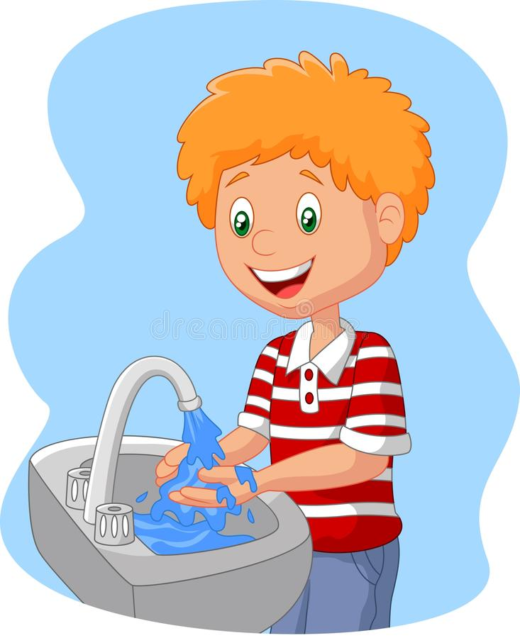 Cartoon boy washing hand vector illustration