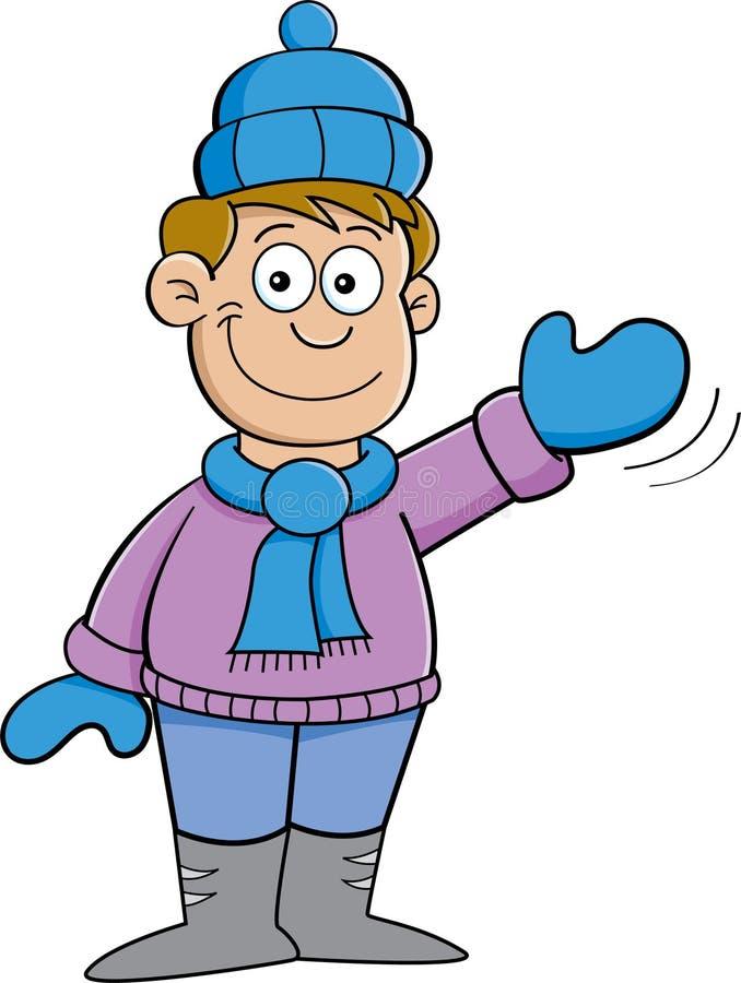 cartoon boy in winter clothes waving royalty free stock