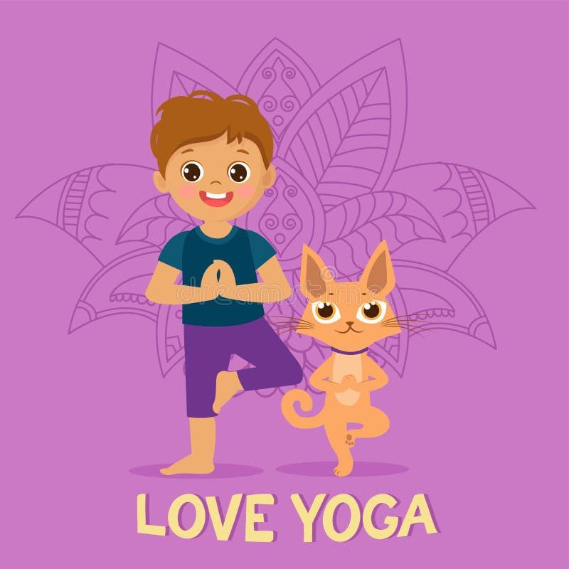 Cartoon Boy In Yoga Pose With Cute Cat. Kid Practicing Yoga Icon. Vector Illustration. vector illustration