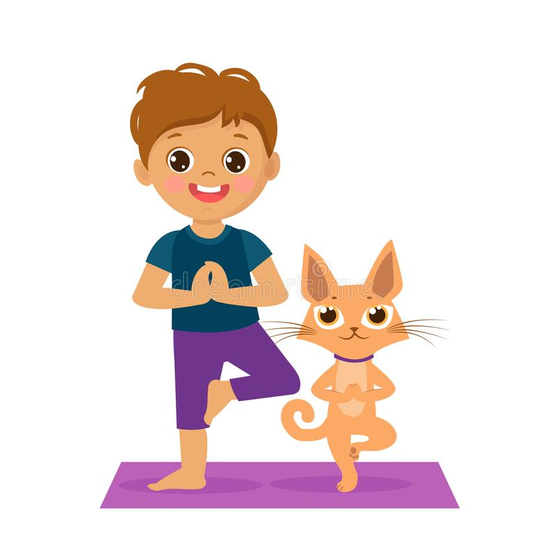 Cartoon Boy In Yoga Pose With Cute Cat. Kids Practicing Yoga Icon. royalty free illustration