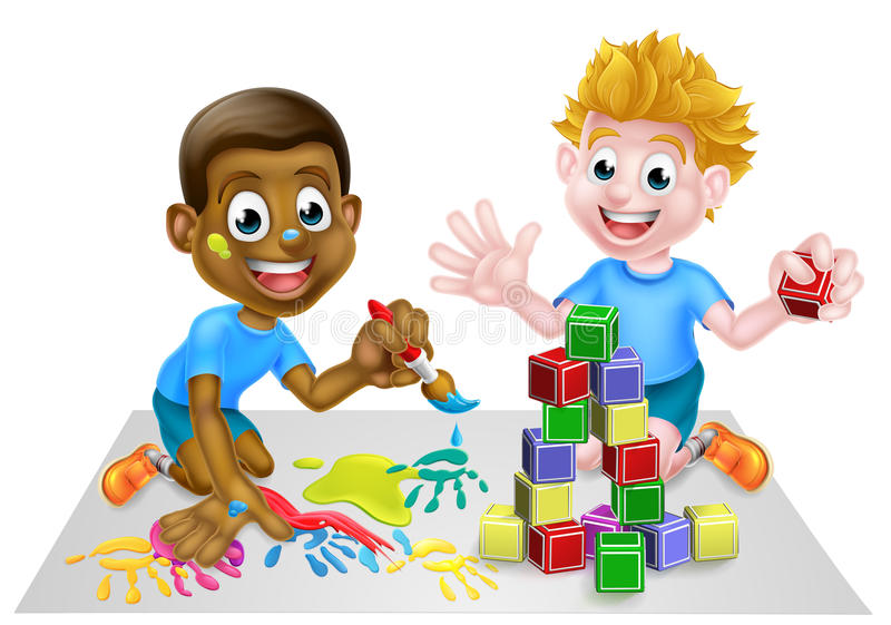 Cartoon Boys Playing With Paint and Blocks. Cartoon boys playing with toys, one black one white, with paint and building blocks stock illustration
