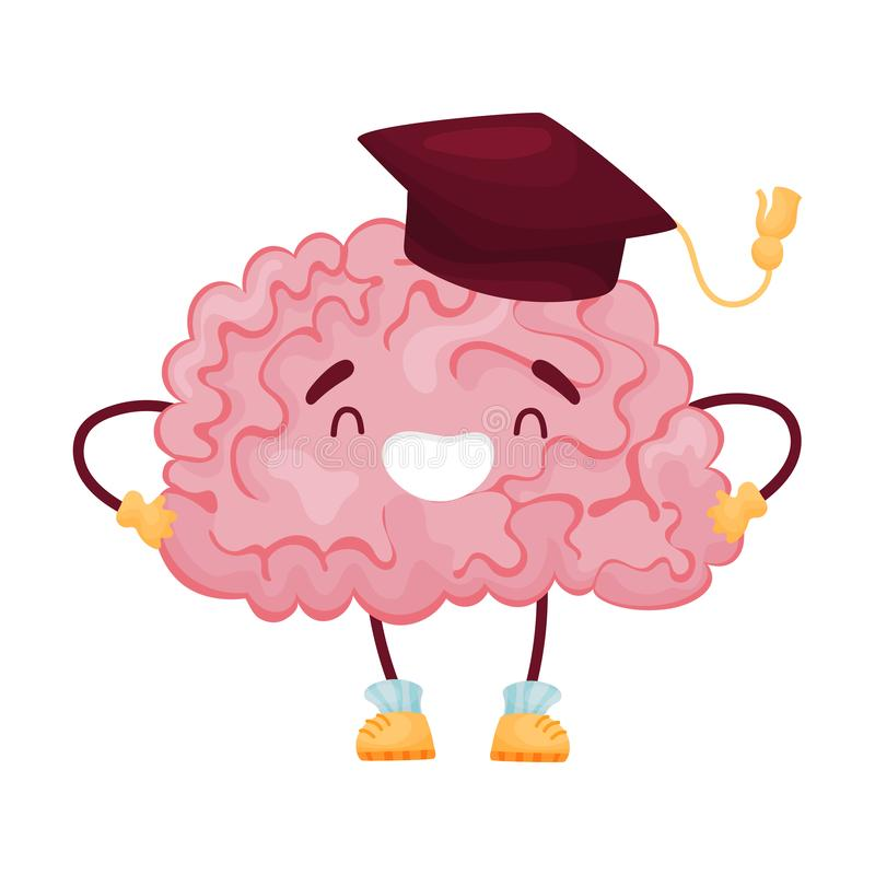 Cartoon brain in the cap of the scientist. Vector illustration on white background. royalty free illustration