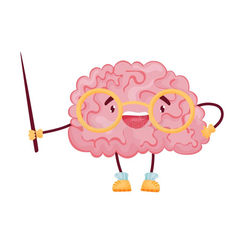 Cartoon brain with glasses and a pointer. Vector illustration on white background. vector illustration