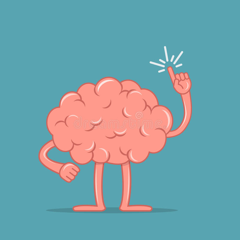 Cartoon brain holding up his index finger and giving advice. Isolated character of the brain in flat style. Vector illustration vector illustration