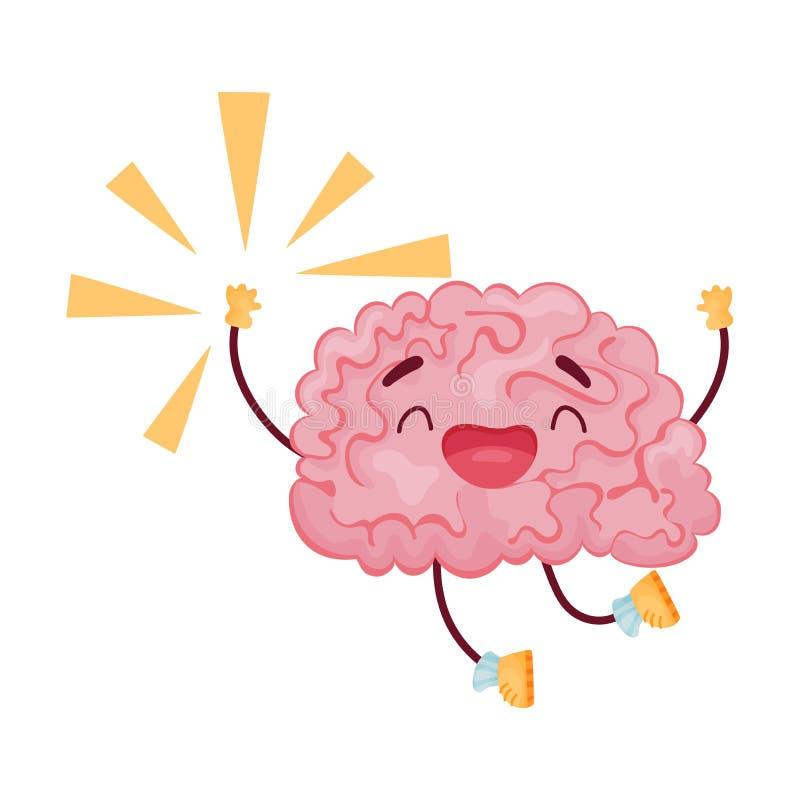 Cartoon brain jumping for joy. Vector illustration on white background. stock illustration