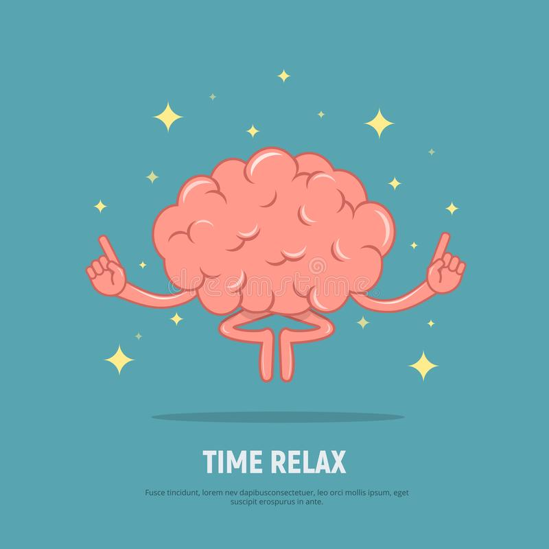 Cartoon brain meditation. Concept time relax. Calm brain in position lotus. vector illustration