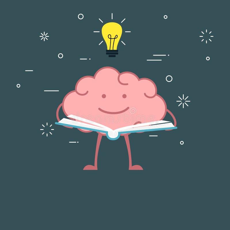 Free Cartoon Brain Reading A Book Royalty Free Stock Photos - 74904718