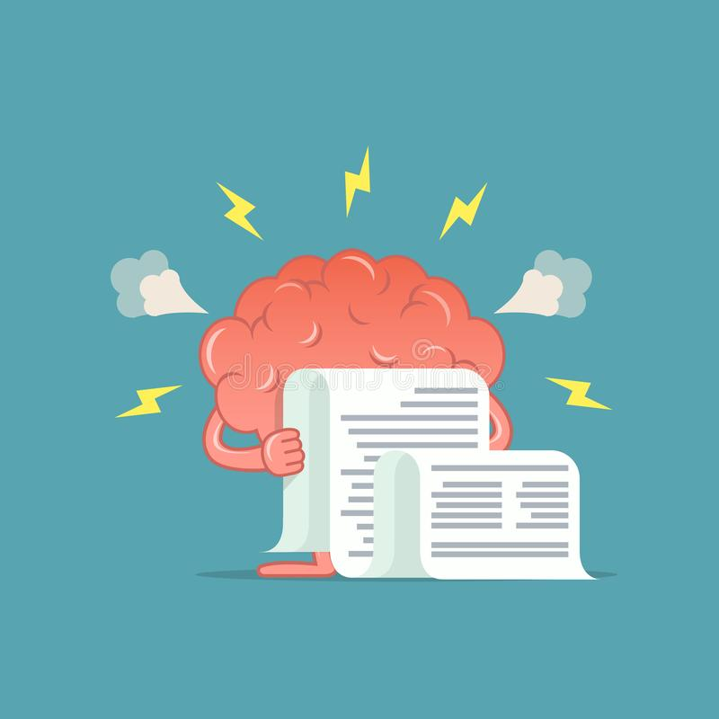 Free Cartoon Brain Was Angry By Reading Bill. Royalty Free Stock Photo - 102836375