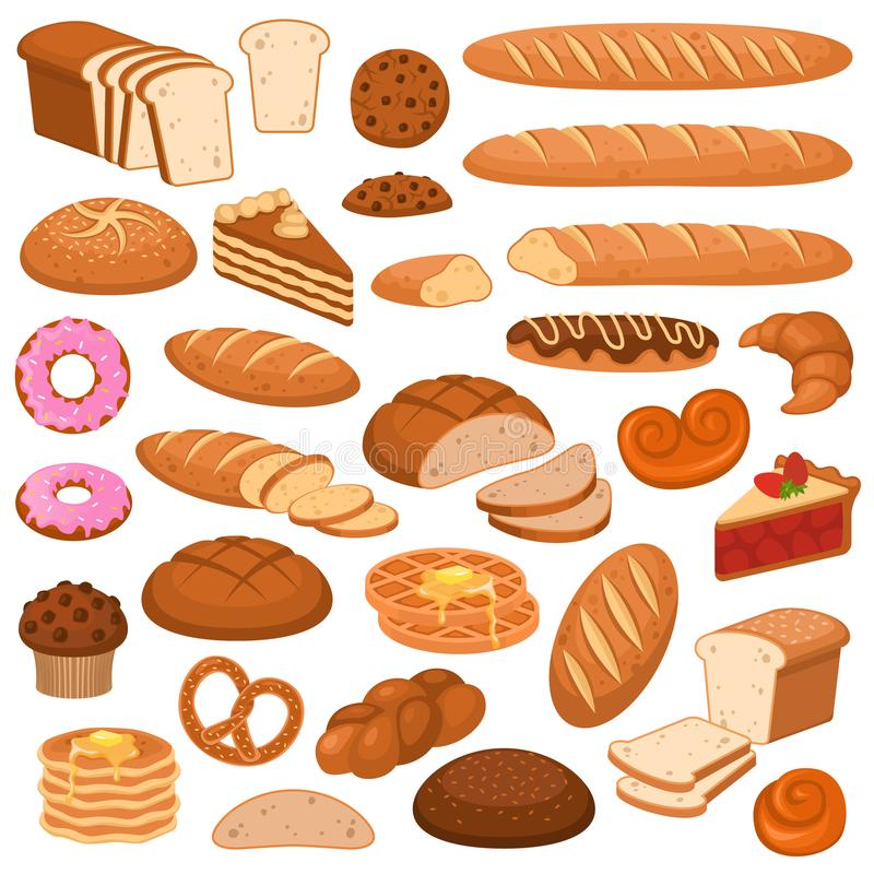 Cartoon bread and cakes. Bakery wheat products, rye breads. Baguette, pretzel and ciabatta, croissant and cupcake stock illustration