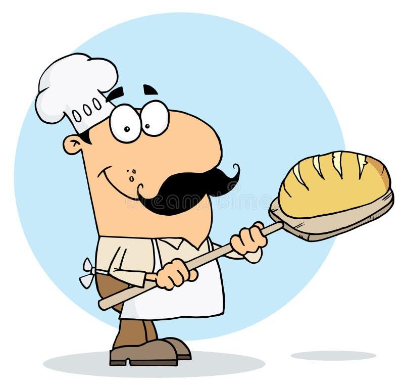 Cartoon bread maker man. Happy caucasian cartoon bread maker man stock illustration
