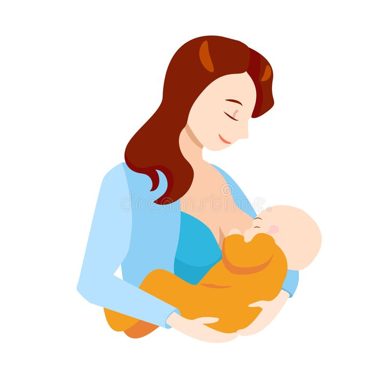 Cartoon Breastfeeding Concept Mother and Newborn Baby. Vector royalty free illustration