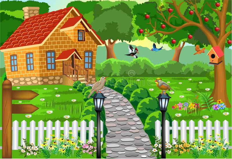 Cartoon brick house in the middle of nature, with stone path, courtyard and fence vector illustration
