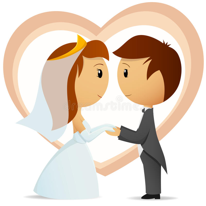 Cartoon bride and groom hold hand each other stock illustration