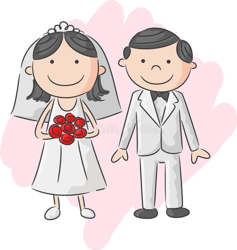cartoon bride and groom stock vector illustration of love 54300452 rh dreamstime com bride and groom cartoon image free bride and groom clipart images