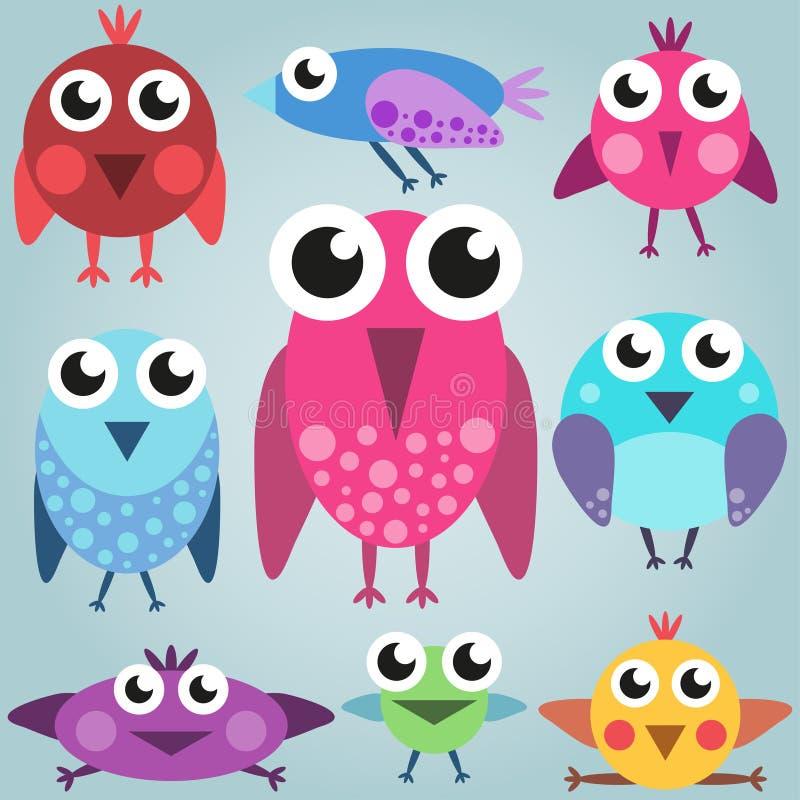 Cartoon bright bird set, funny comic birds, simple royalty free illustration