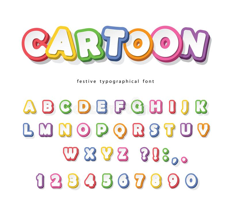 Cartoon bright font for kids. Paper cut out ABC letters and numbers. Paper cut out. Colorful alphabet. Vector. Illustration vector illustration