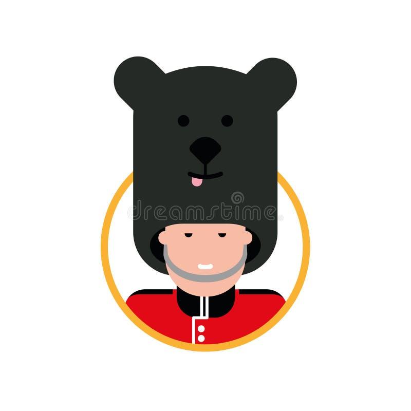 Cartoon British soldier in a bear hat. stock illustration