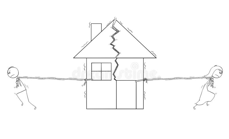 Cartoon of Broken Couple in a Bad Relationship After Divorce is Dividing House in Two parts. Cartoon stick drawing conceptual illustration of broken couple after stock illustration