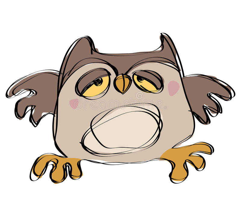 Cartoon Brown Baby Owl In A Naif Childish Drawing Style Royalty Free Stock Photo