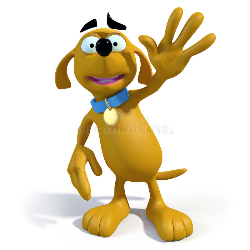 Cartoon brown dog waving royalty free illustration