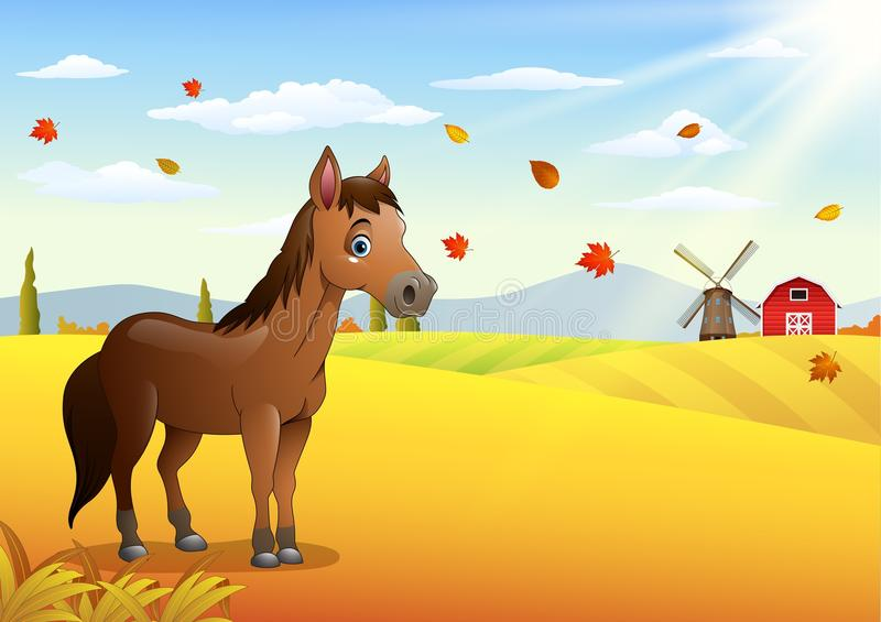 Cartoon brown horse in the autumn weather vector illustration