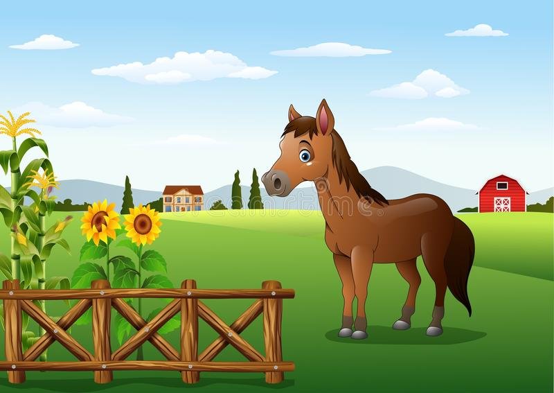 Cartoon brown horse in the farm royalty free illustration