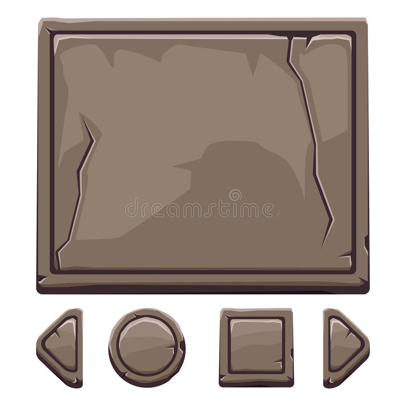 Free Cartoon Brown Stone Assets And Buttons For Ui Game Royalty Free Stock Photography - 83892707