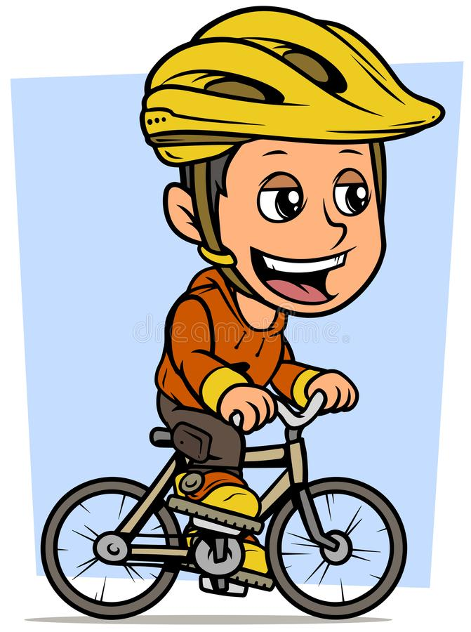 Cartoon brunette boy character riding on bicycle. Cartoon white cute smiling flat brunette boy character riding on gray bicycle in protective helmet. On blue vector illustration