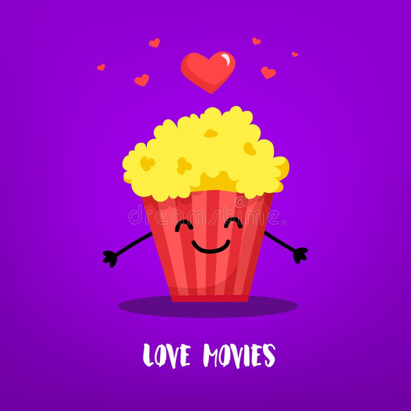 Cartoon bucket of popcorn with hands and hearts on violet background. Flat style. Vector card.  stock illustration