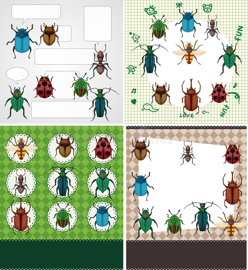 Cartoon bug card. Vector,illustration stock illustration