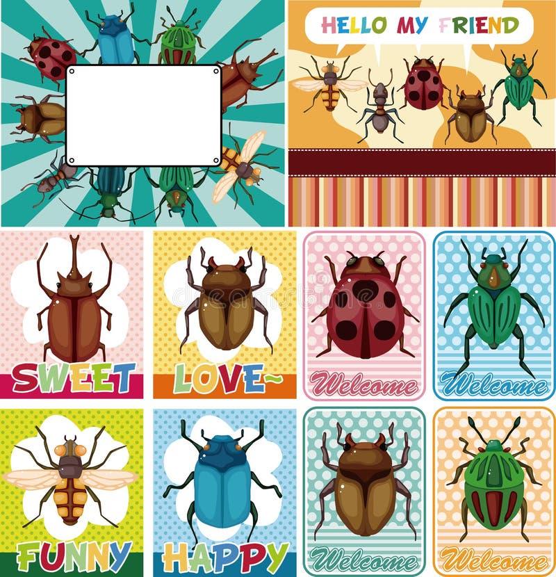 Cartoon bug card. Vector,illustration royalty free illustration