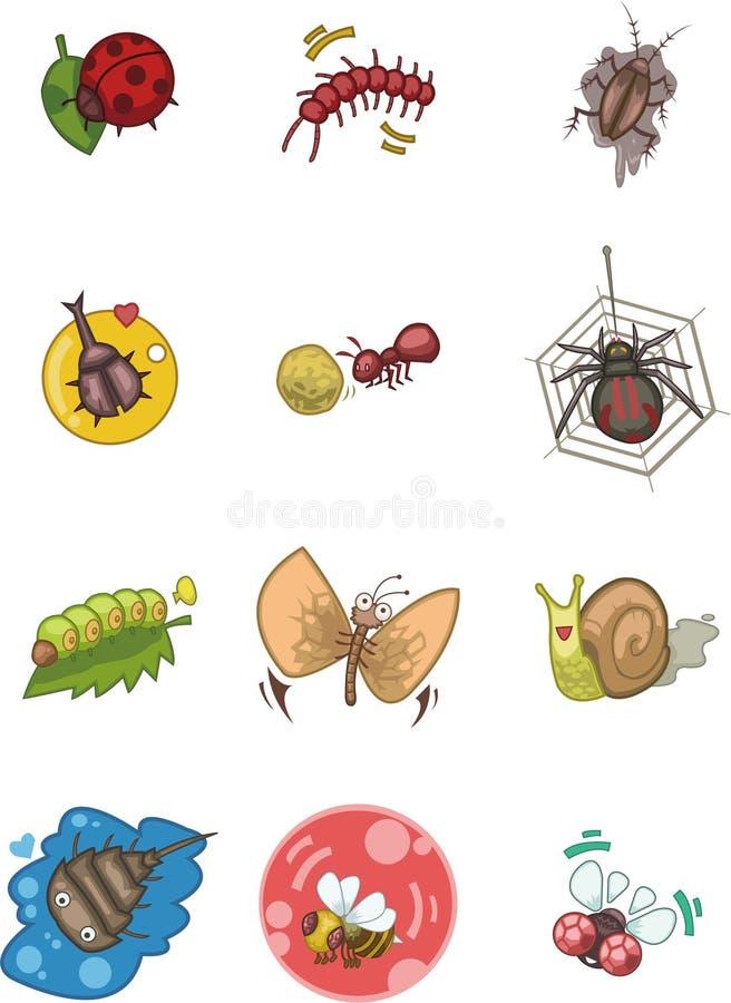 Cartoon bug icon. Vector drawing royalty free illustration