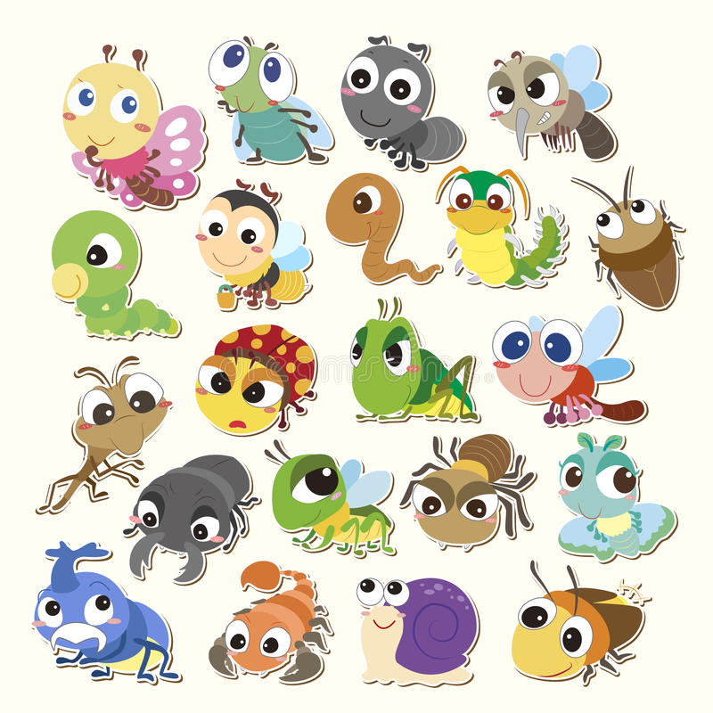 Cartoon bug icon. Set of cute cartoon insects stock illustration