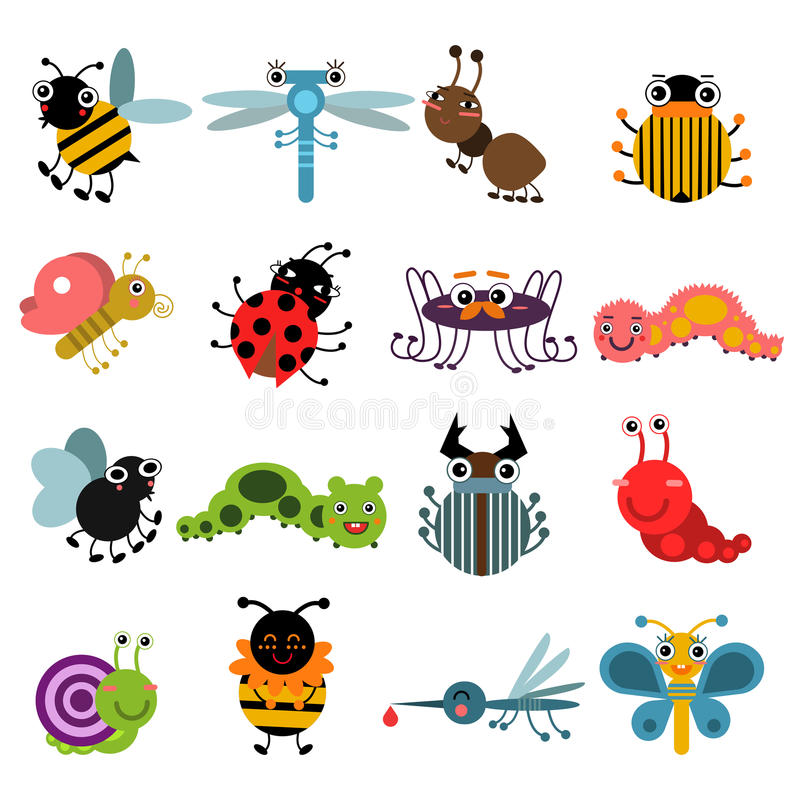 Cartoon bugs and insects. Vector illustration set isolate on white background. Insects collection bee and butterfly, characters spider and ant insects vector illustration