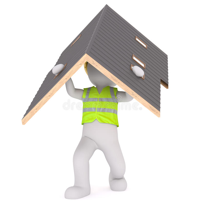 Cartoon Builder Wearing Vest and Carrying Roof vector illustration