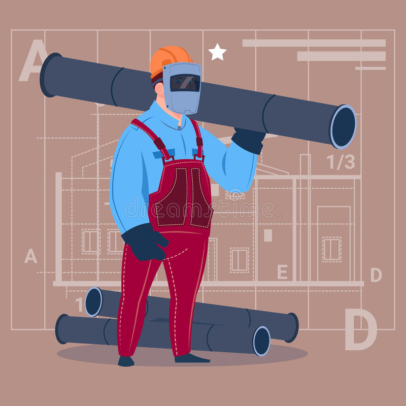 Cartoon Builder Wearing Welding Mask Hold Piping Construction Worker Over Abstract Plan Background Male Workman. Flat Vector Illustration royalty free illustration