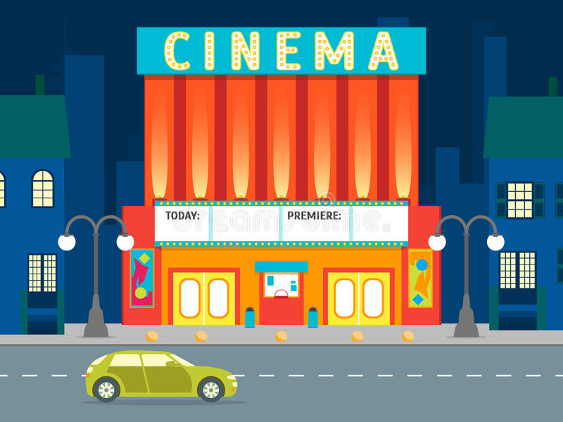 Cartoon Building Cinema on a City Landscape Background. Vector vector illustration