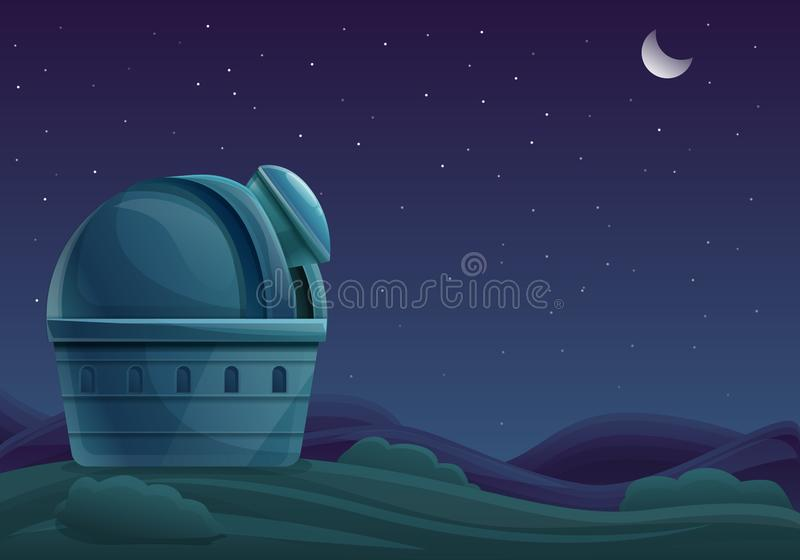 Cartoon building of the observatory at night with a telescope in the sky with stars. Vector illustration royalty free illustration