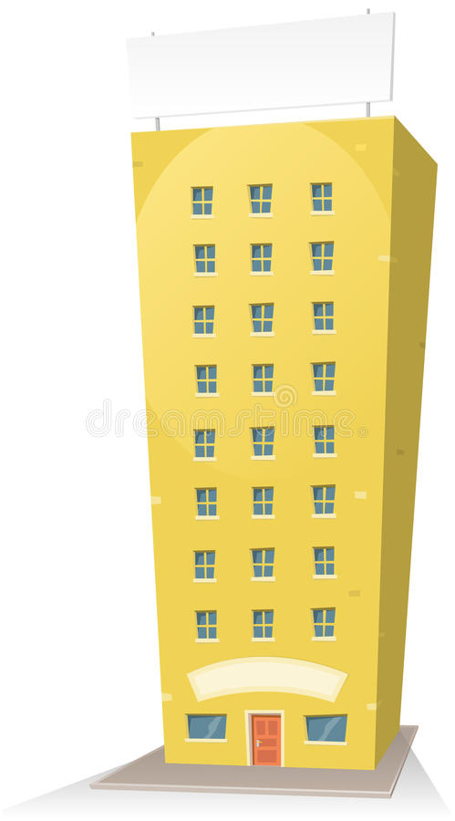 Cartoon Building With Sign vector illustration