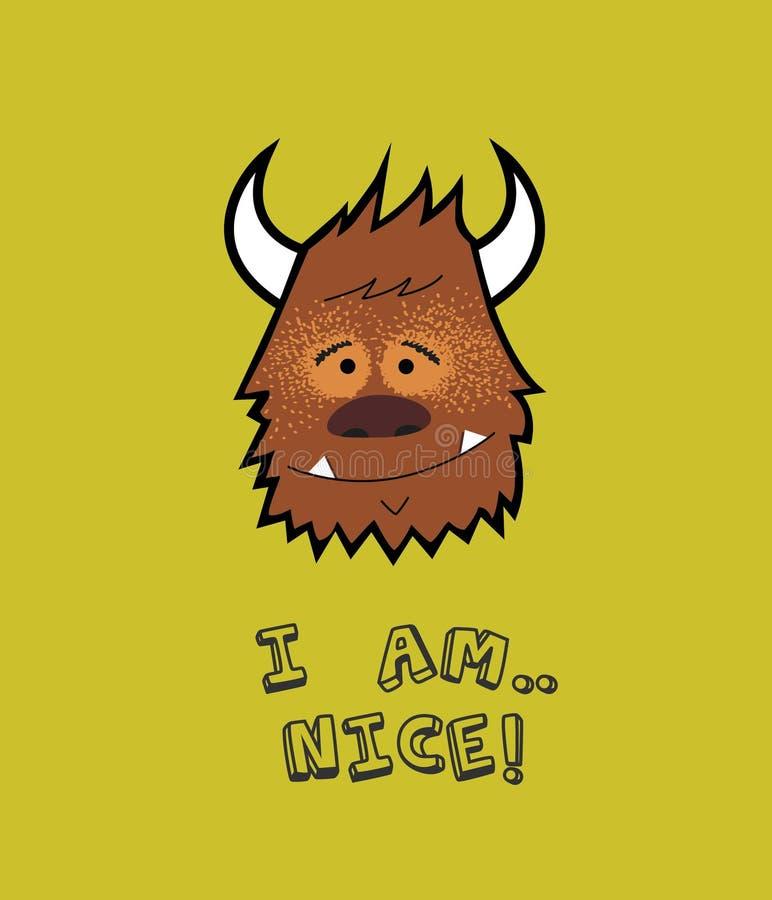 Cartoon bull, buffalo portrait maskot I am nice stock illustration
