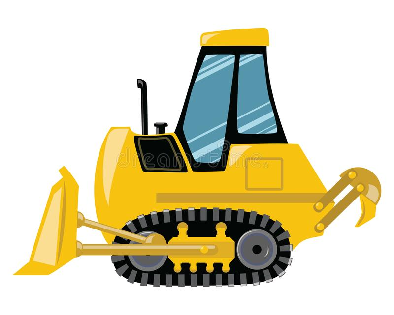 Cartoon bulldozer. Vector illustration of construction machinery. Drawing for children. stock illustration
