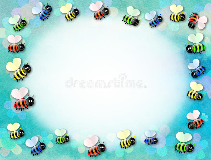 Cartoon Bumble Bee Page Border Paper Decoration royalty free illustration