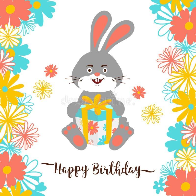 Cartoon bunny Happy Birthday greeting card. Cute bunny holds a gift, Lettering happy birthday, Flower background. Vector royalty free illustration