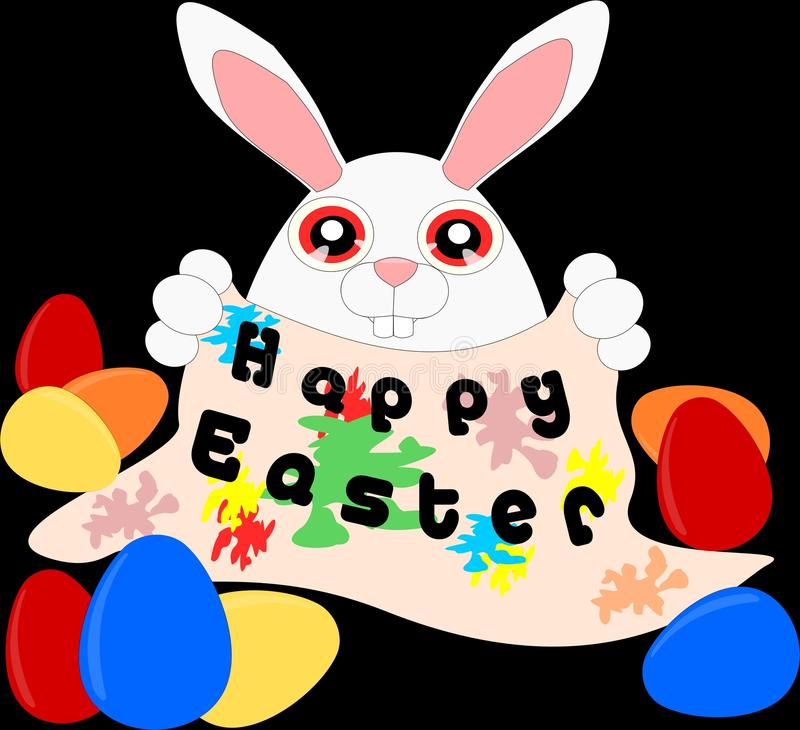 Cartoon Bunny with message board 3 vector illustration