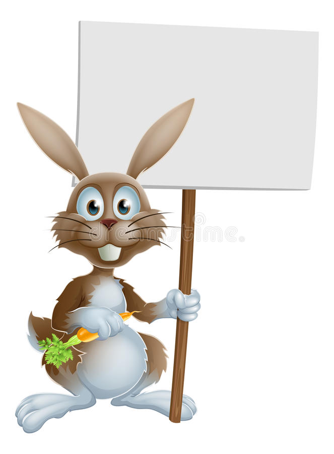 Cartoon bunny rabbit carrot and sign. Cartoon bunny rabbit holding a carrot and billboard sign stock illustration