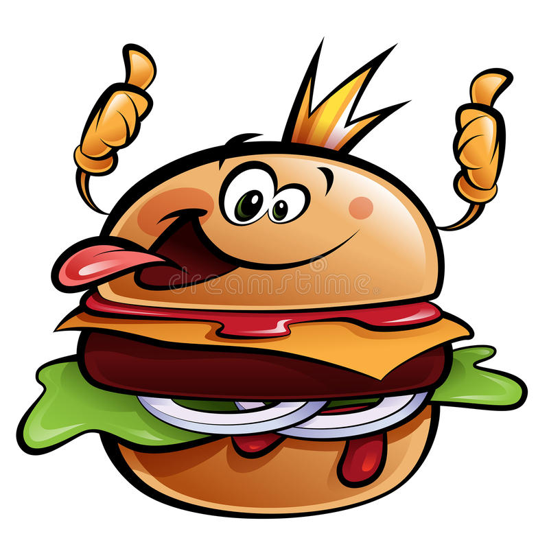 Cartoon burger king making a thumbs up gesture. Cartoon cheeseburger king making a thumbs up gesture wearing a crown and sticking out tongue stock illustration