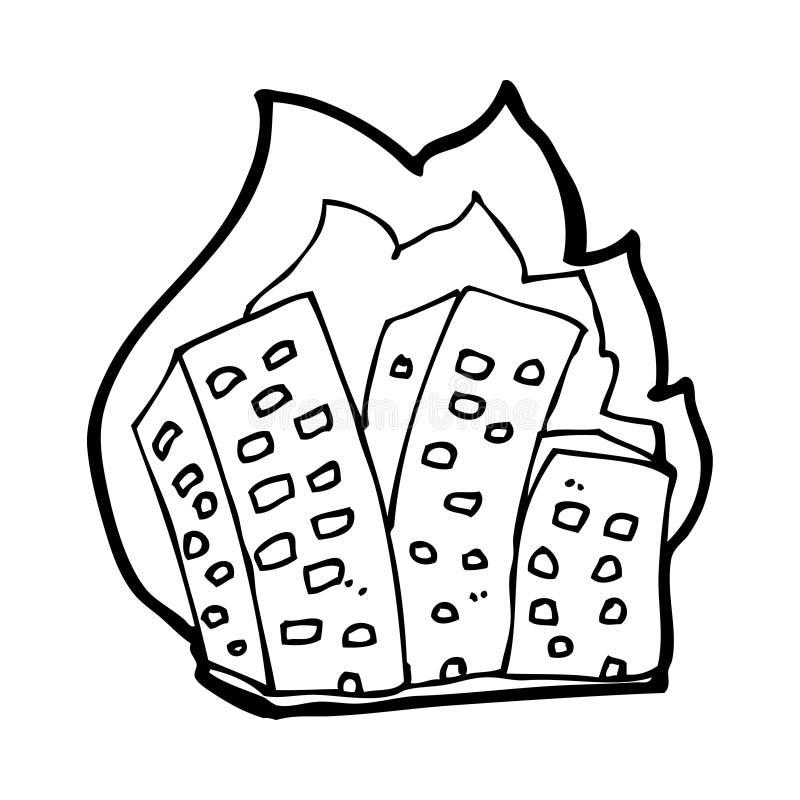 Download Cartoon burning buildings stock illustration. Illustration of rough - 37028432